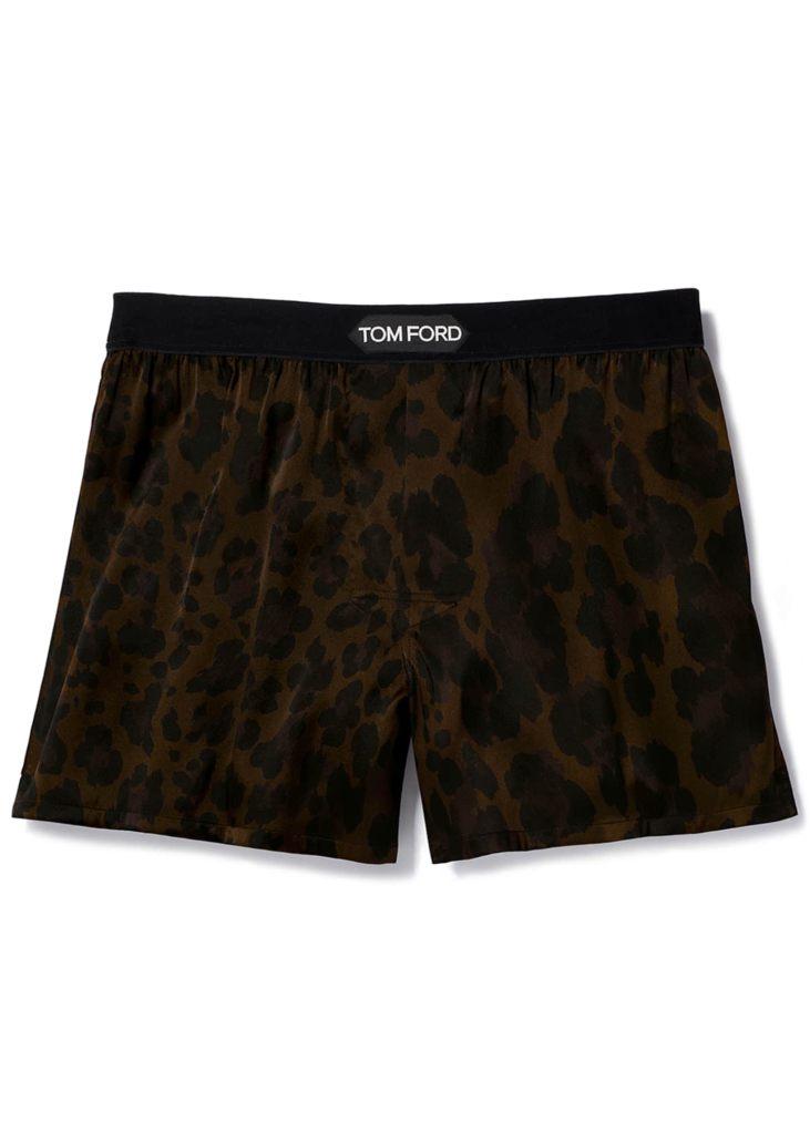 Men's Logo-Band Leopard Silk Boxers