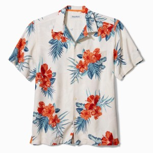 Tommy Bahama Hilo Hibiscus Floral Short Sleeve Silk Button-Up Shirt