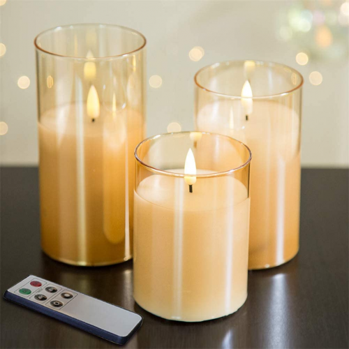 Eywamage Glass Flickering Flameless Candles, flameless candles