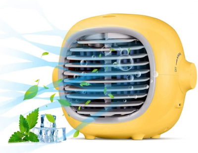 yellow personal air conditioner fan