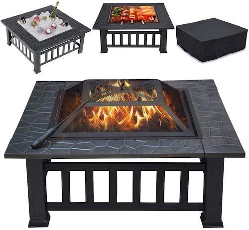 Yaheetech Multifunctional Fire Pit Table, best metal fire pit