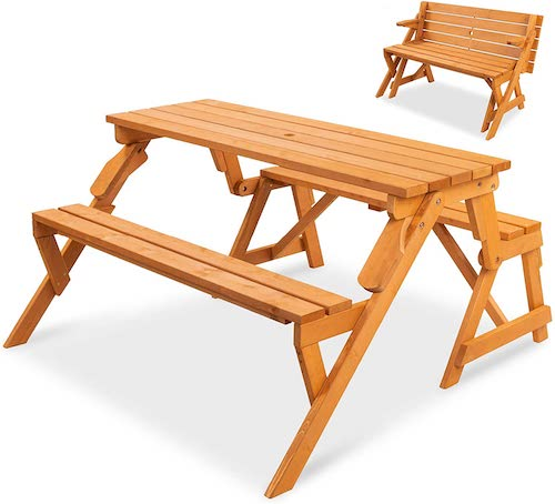 Best Choice Products 2-in-1 Transforming Interchangeable Outdoor Wooden Picnic Table/Garden Bench