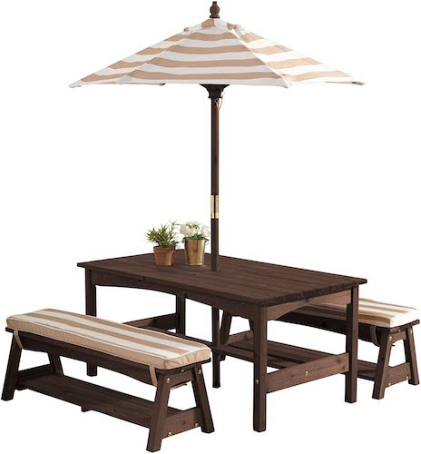 KidKraft 00 Outdoor Table and Bench Set with Cushions and Umbrella