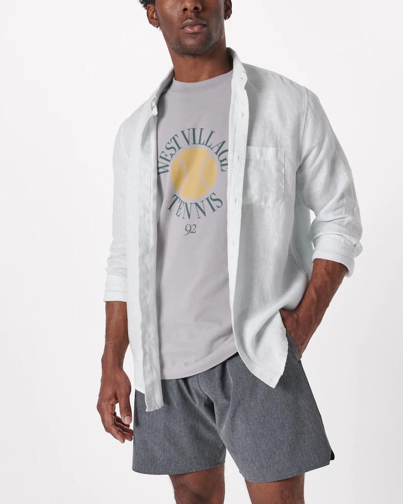 Abercrombie & Fitch Linen Button Up Shirt, men's summer fashion 2021