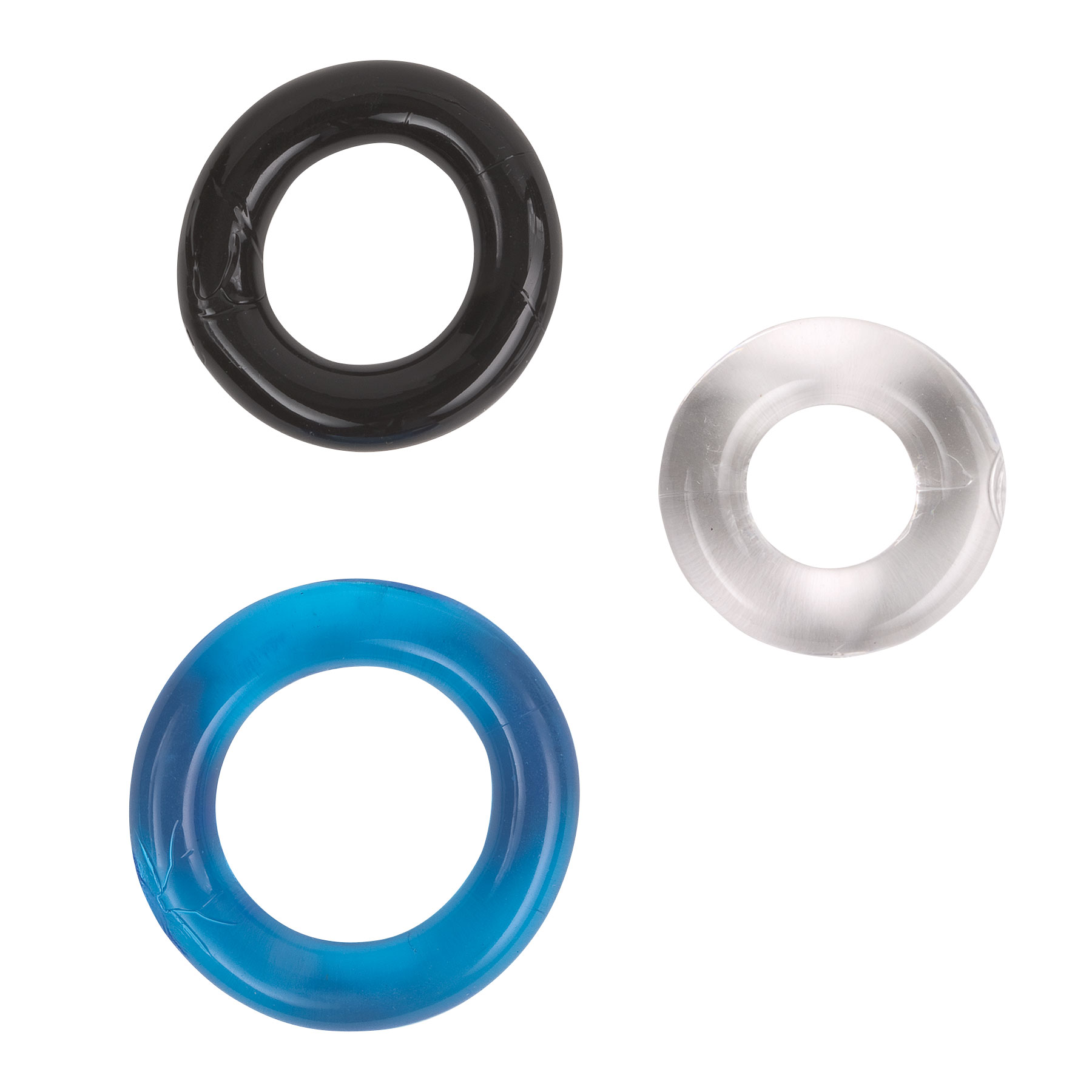 Adam & Eve Big Time Jumbo Pack Smooth Rings, three different colored penis rings of different sizes