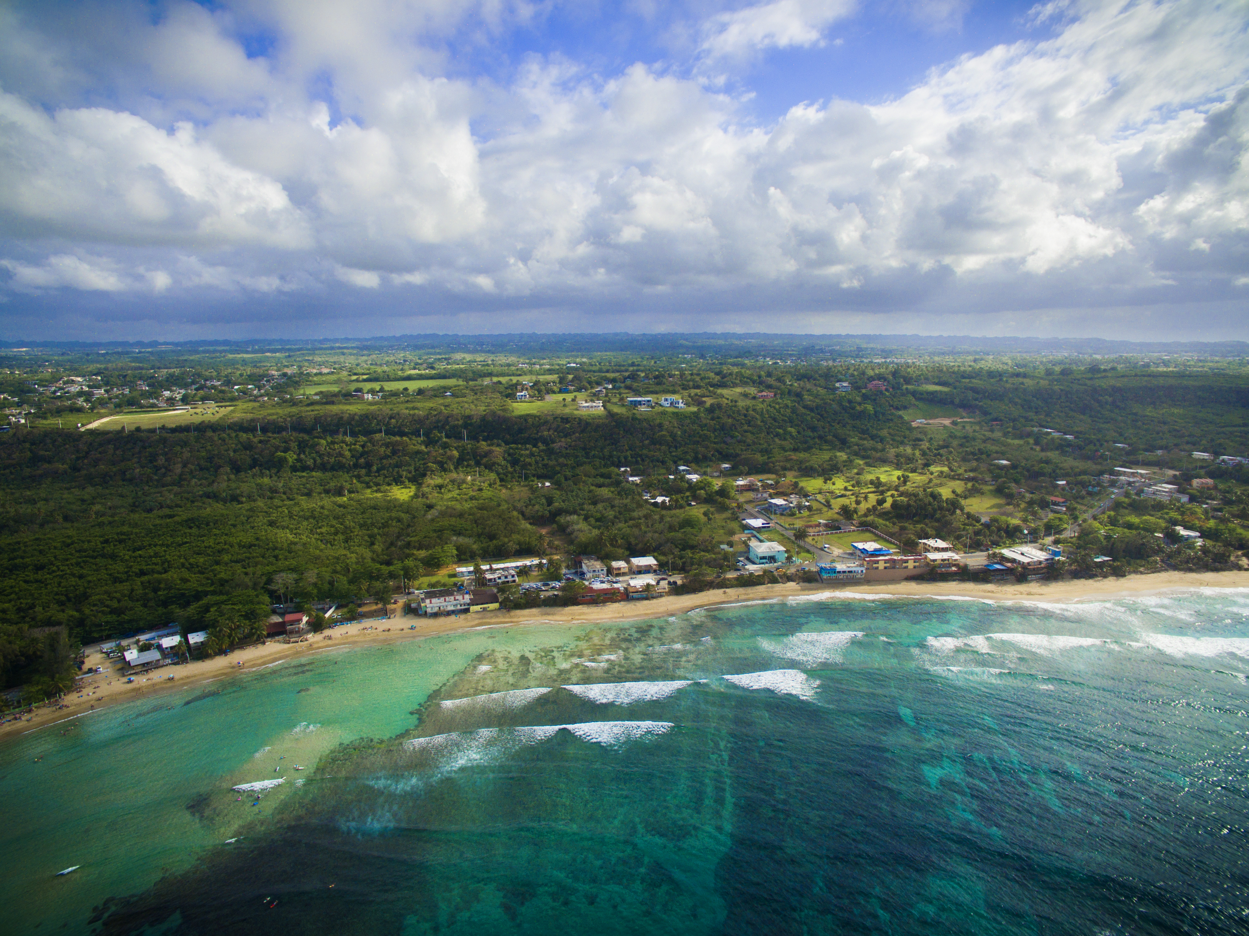 Aerial view of beach in Isabela Puerto Rico.