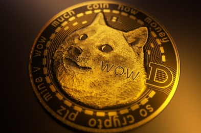 Dogecoin DOGE cryptocurrency, Face of the Shiba Inu dog on coin. Gold Dogecoin on dark backround with text and crypto symbol. 3D Illustration