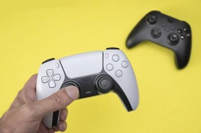 Man holding next generation game controller.