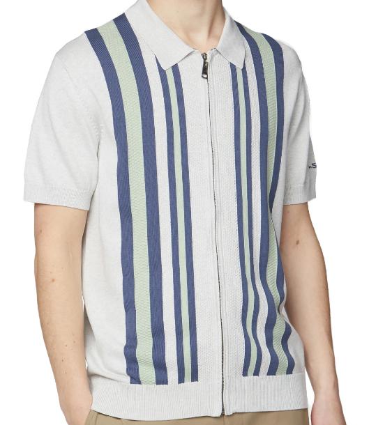 Ben Sherman Textured Stripe Zip Through Polo Shirt