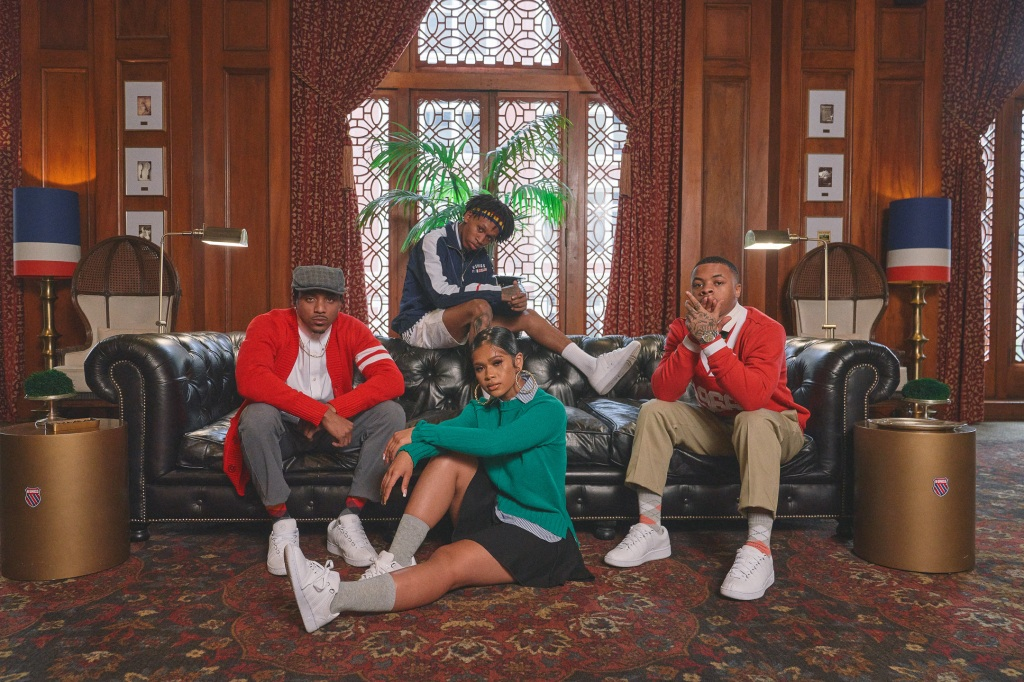 Mitch, Day Sulan, YG, Tay2xs, and d3szn wearing K-Swiss Classic LX Sneakers
