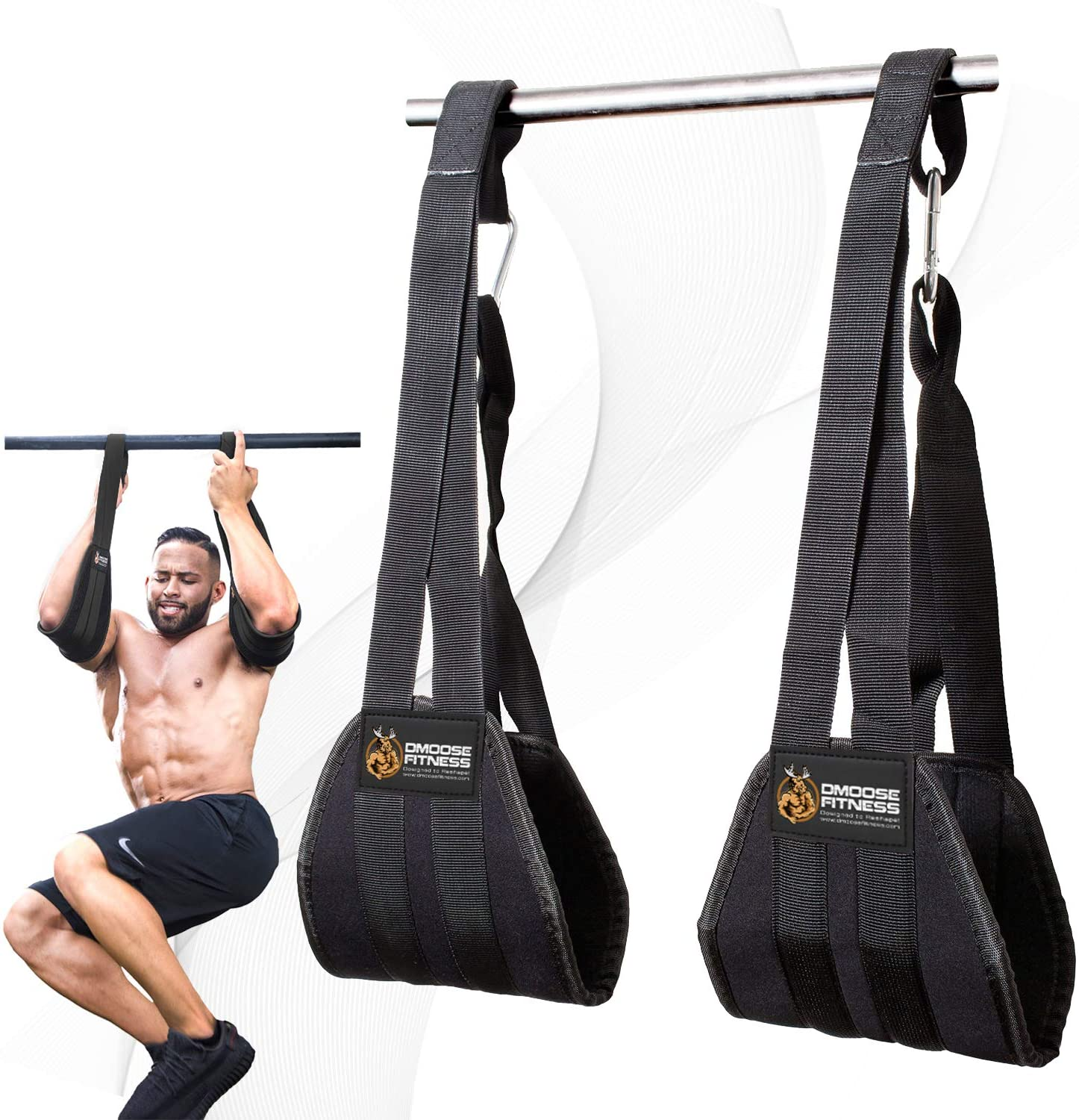 Man using DMoose Fitness Hanging Ab Straps for abs