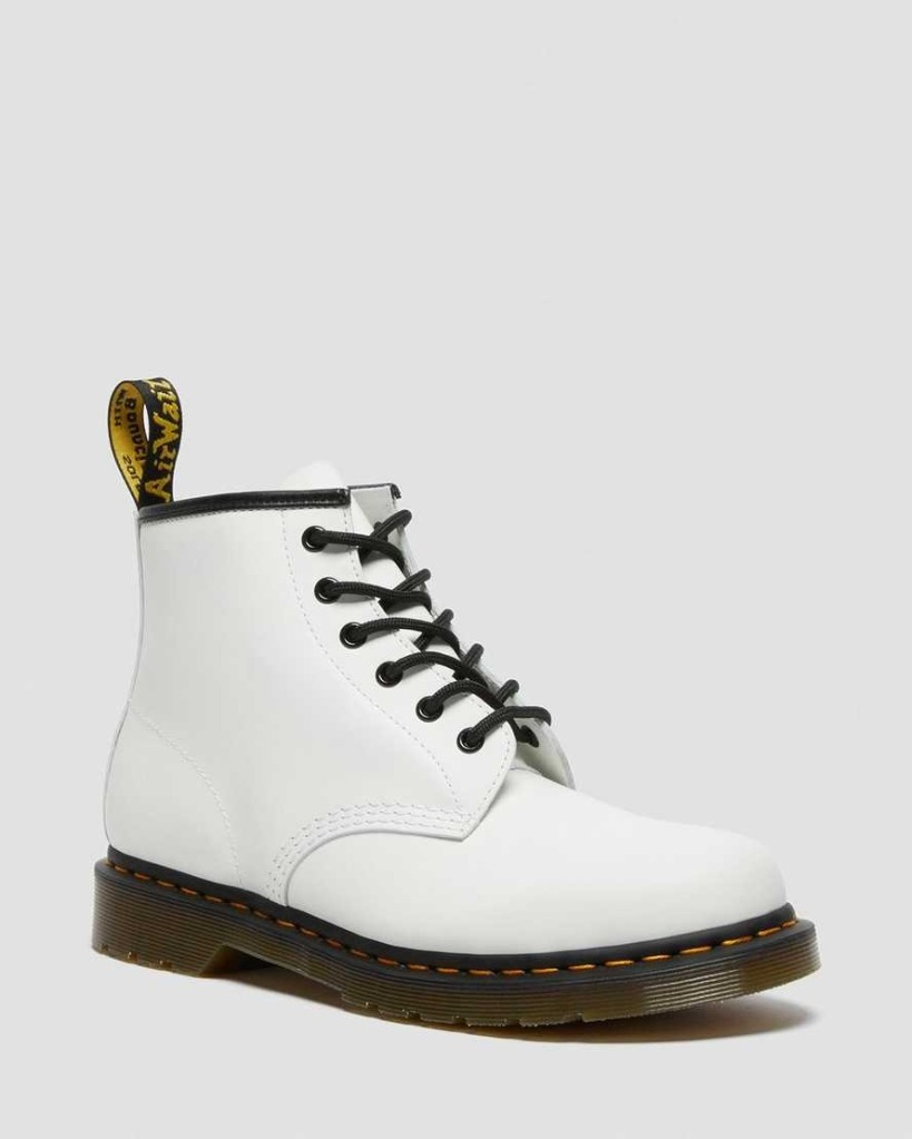 Dr.-Martens-101-Yellow-Stitch-Smooth-Leather-Ankle-Boots combat boots