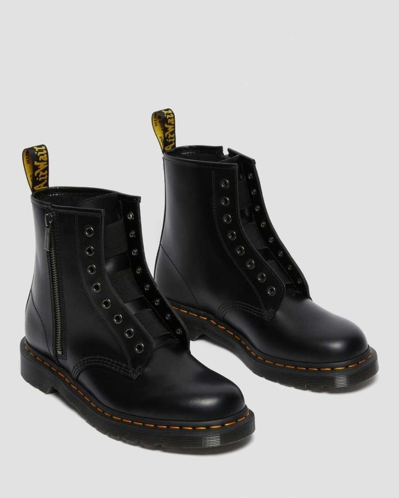 Dr.-Martens-1460-Elastic-Smooth-Leather-Lace-Up-Boots combat boots