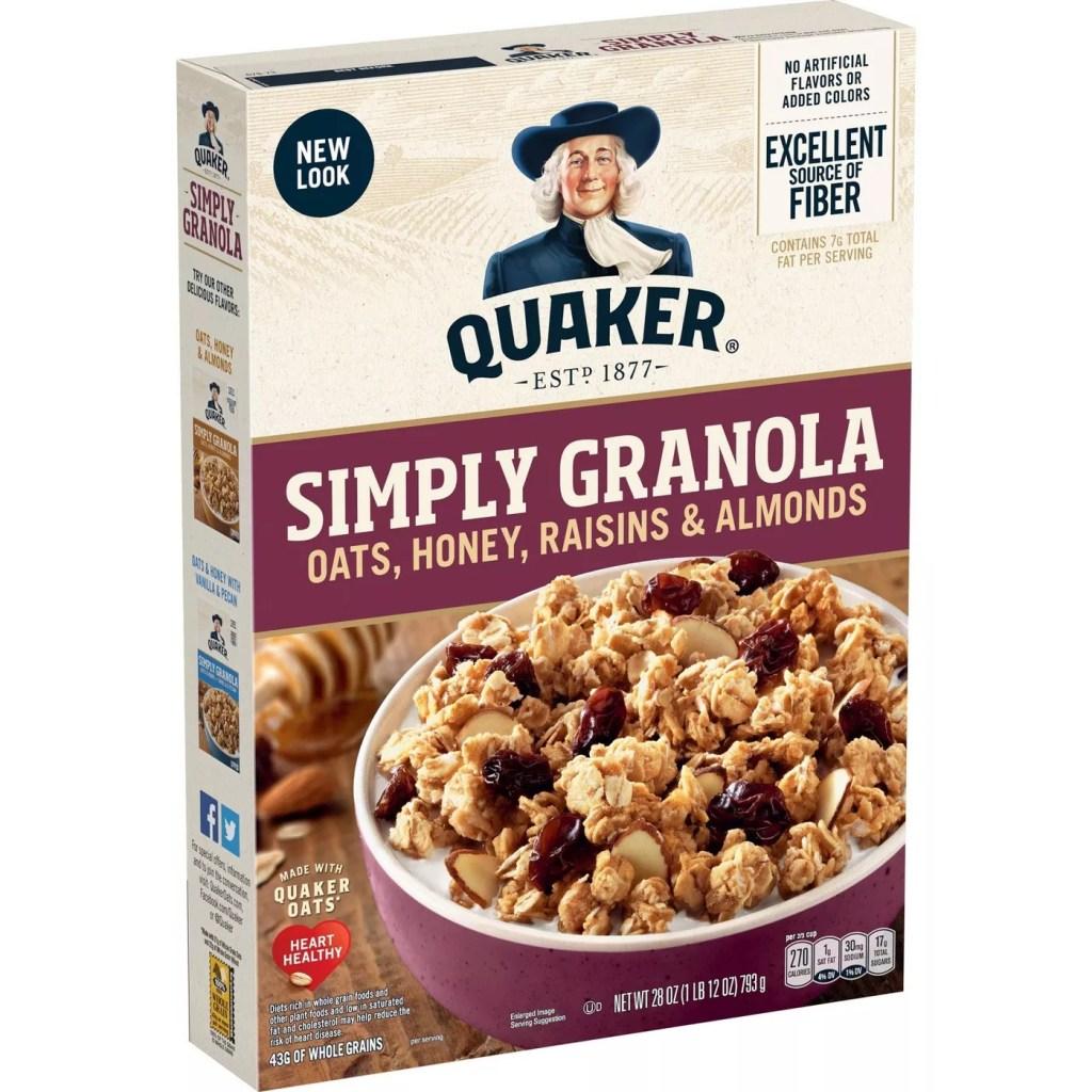 Quaker Granola Oats, Honey, Raisins, and Almonds, Best Granola