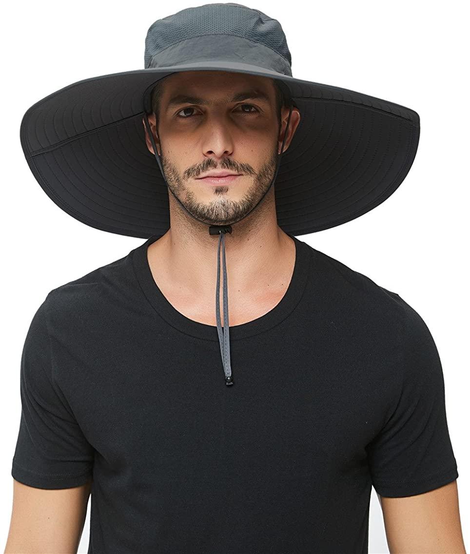 Man wears HLLMan Super Wide Brim Sun Hat, sun hats for men