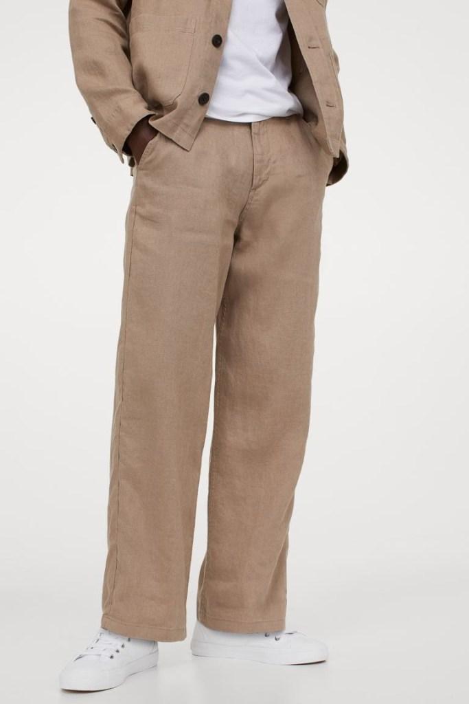 H&M Straight Fit Linen Pants