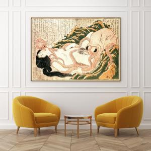 hokusai poster the dreams of fisherman wife