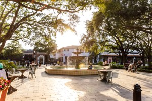 Sunset over center fountain in Hyde Park Village, Florida Travel