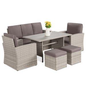 Ilio 7-person rectangular dining set, patio furniture sets
