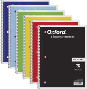Oxford subject notebook 6-pack, best notebook