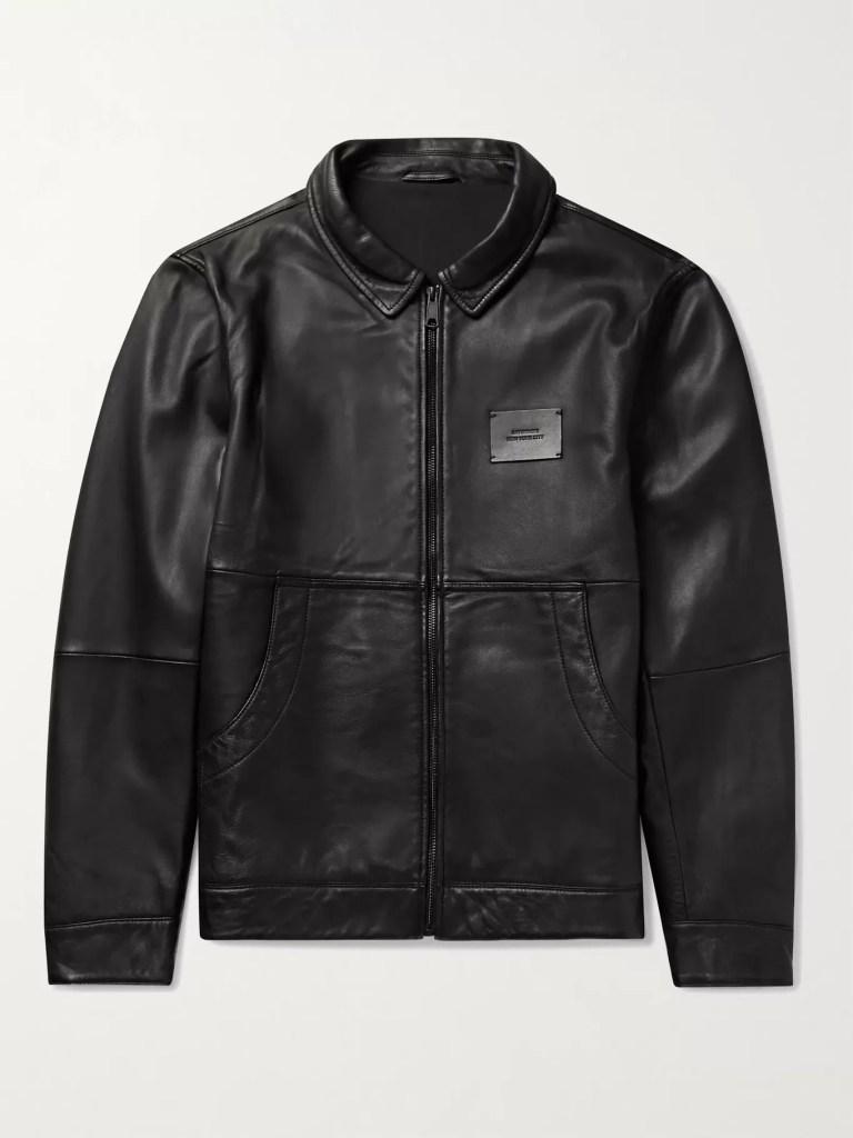 Saturdays-NYC-Logo-appliqued-leather-jacket