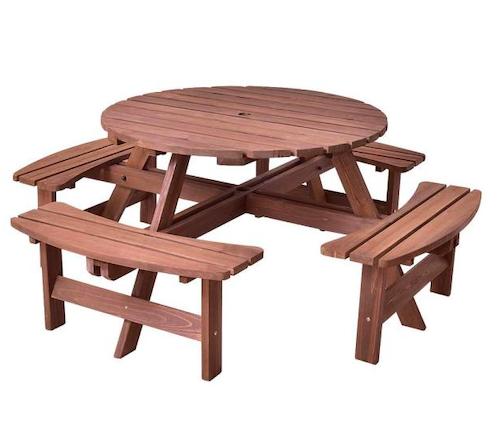 Boyel Living 8-Seat Wood Patio Picnic Dining Seat Bench Set