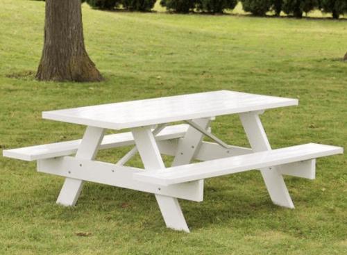 Dura-Trel White Vinyl Patio Picnic Table