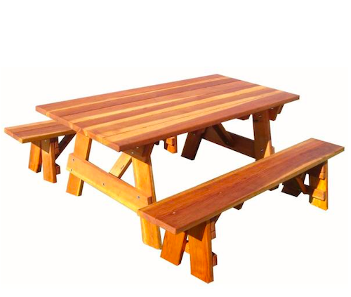 Outdoor 1905 Super Dec 6 ft. Redwood Picnic Table with Separate Benches