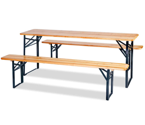 HOMGX 3-Piece Folding Picnic Table With Benches