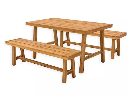 Vifah Miami 3-Piece Wood Outdoor Dining Set