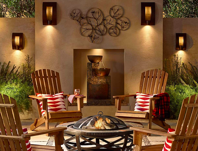 backyard with firepit