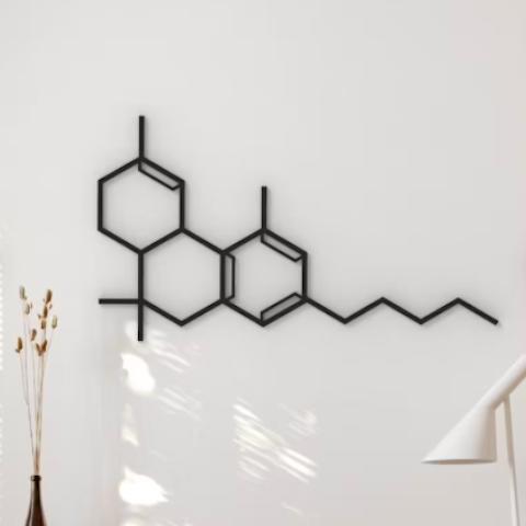 PRINTERIOR Dsgn THC Molecule Hanging Wall Art