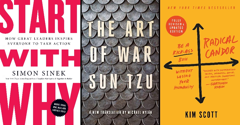 Three book covers: Start with Why,