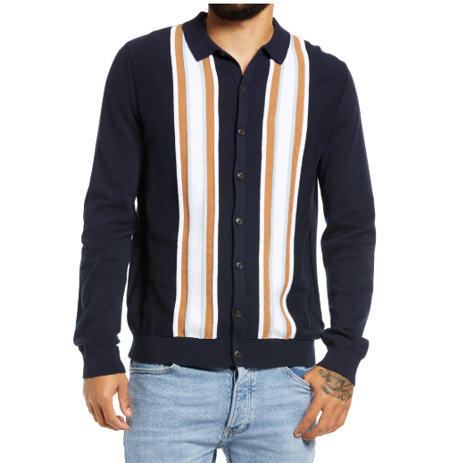 Topman Stripe Button Up Sweater