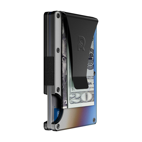 The Ridge Slim Minimalist RFID Titanium Metal Wallet with attached money clip holding money