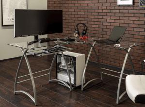Walker Edison Glass L-Shaped Gaming Desk