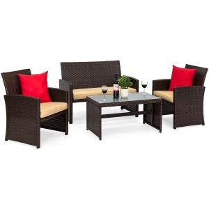 best choice products 4-piece wicker furniture set