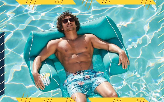 man in pool float chair, best