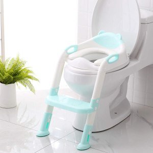 Toddler toilet seat with ladder