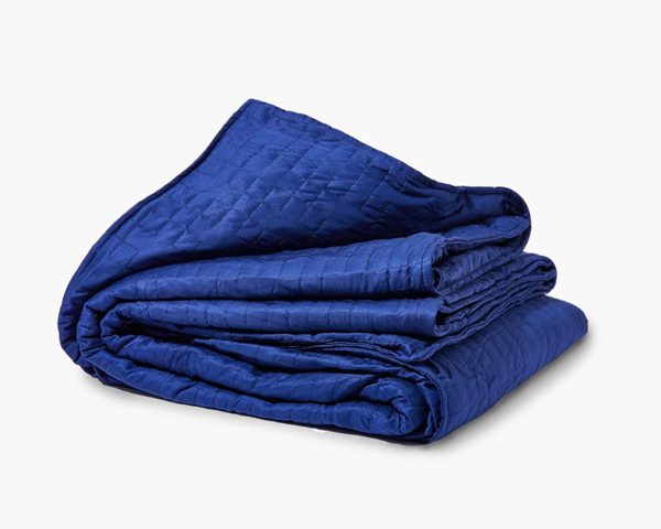 cooling weighted blanket in blue