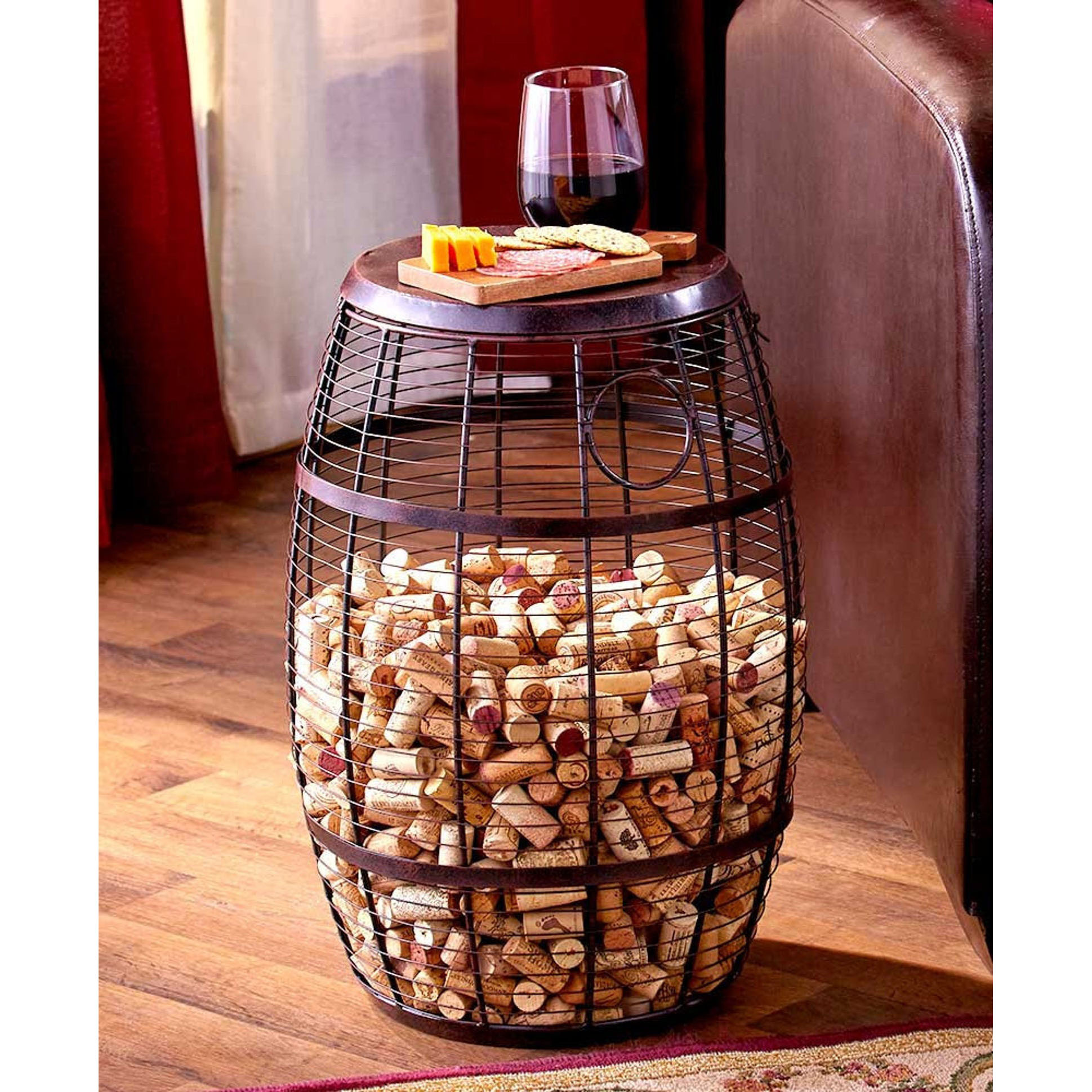 Better Home Space Wine Cork Holder Accent Tables