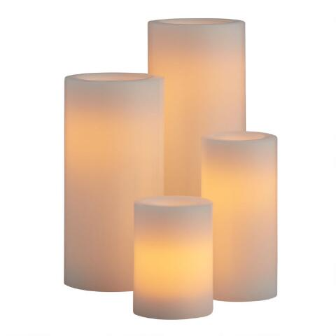 Ivory All Weather Outdoor Flameless LED Pillar Candle