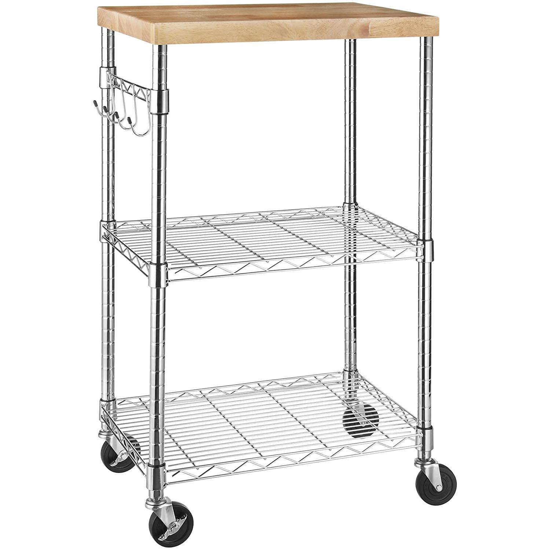 Amazon Basics Kitchen Rolling Microwave Cart