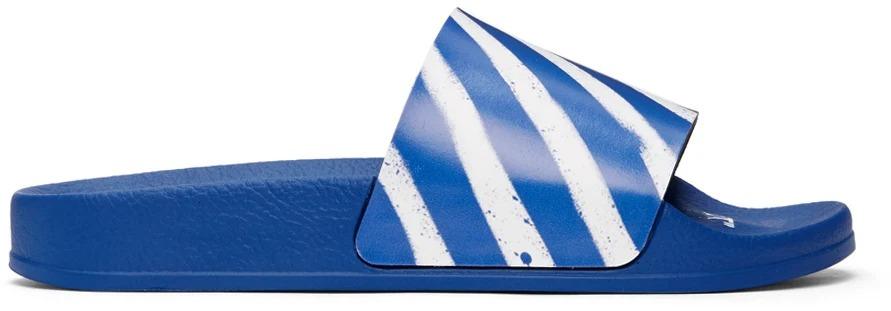 Off-White Blue and White Diagonal Stripe Slides, men's summer fashion 2021