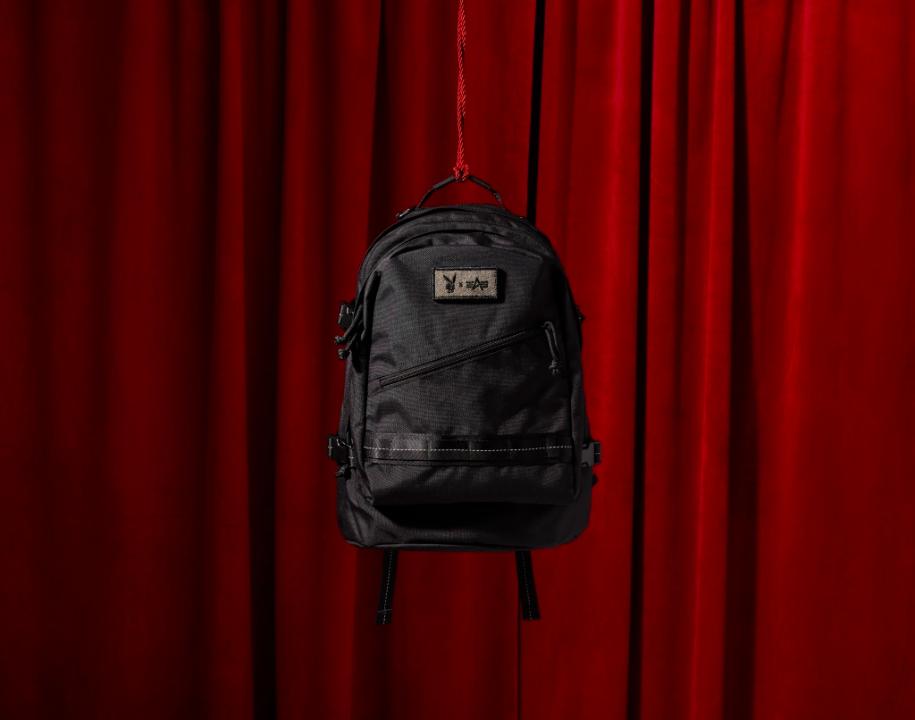 playboy backpack on red background