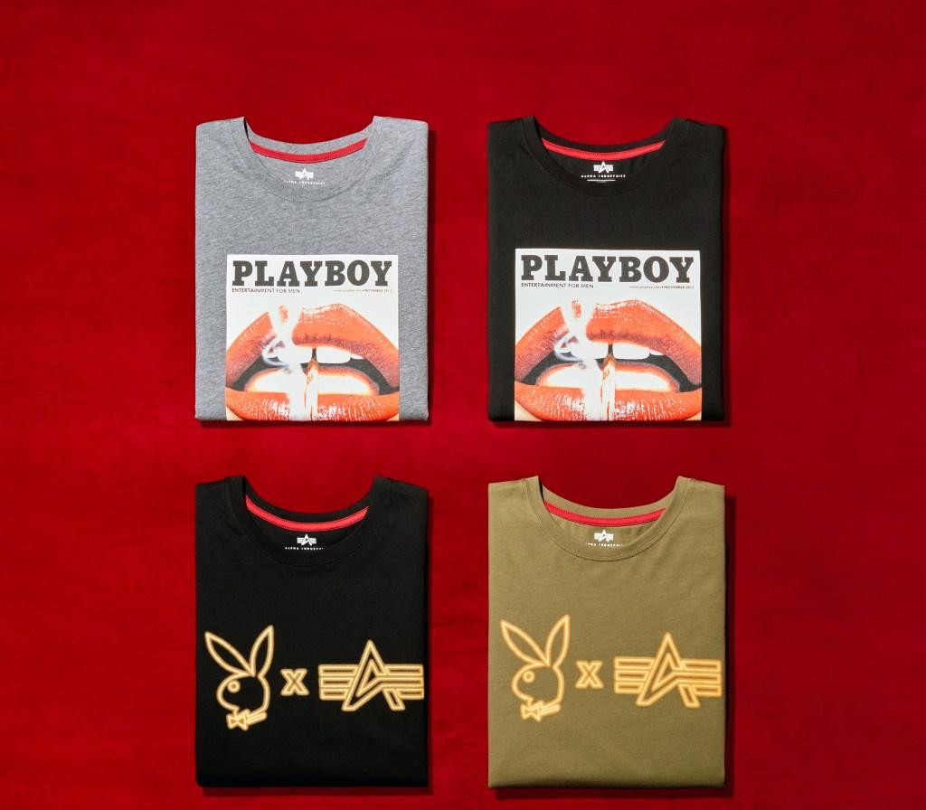 alpha industries playboy tshirts on red felt