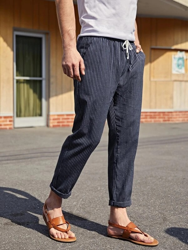 SHEIN Men's Striped Drawstring Pants