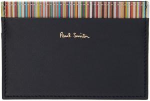 Paul Smith Black Signature Stripe Trim Card Holder