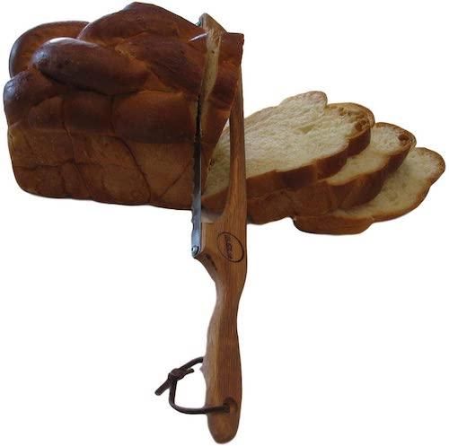 Solid Oak Bread and Bagel Slicer