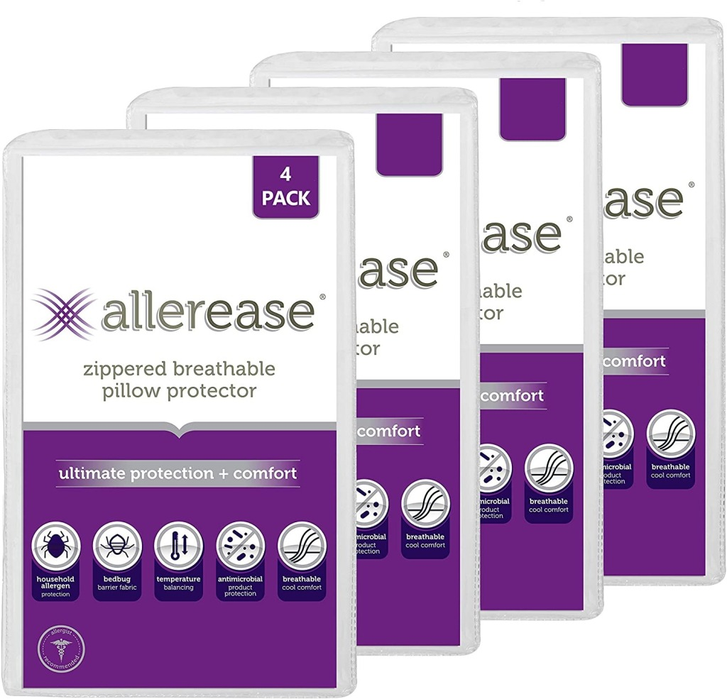 AllerEase Zippable Breathable Pillow Protector, how to get rid of allergens in your home